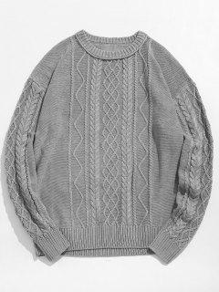 Vintage Pattern Knit Sweater - Gray Goose L