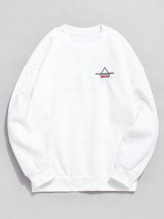 Embroidered Triangle Letter Fleece Sweatshirt - White Xl