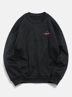 Embroidered Triangle Letter Fleece Sweatshirt - Black Xl