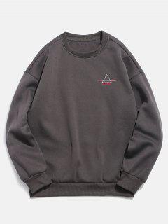 Embroidered Triangle Letter Fleece Sweatshirt - Dark Gray 2xl