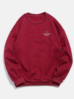 Embroidered Triangle Letter Fleece Sweatshirt - Red 2xl