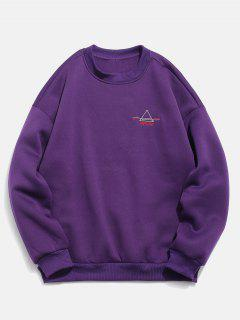 Embroidered Triangle Letter Fleece Sweatshirt - Purple M