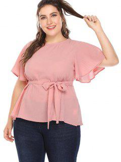Split Sleeves Plus Size Blouse - Pig Pink 3x