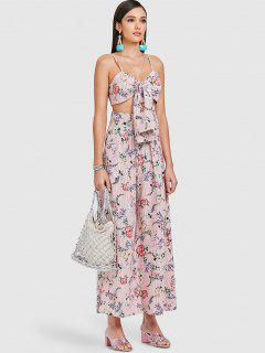 ZAFUL Tie Floral Striped Two Piece Set - Multi S