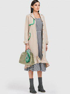 ZAFUL Flounce Belted Single Breasted Trench Coat - Light Khaki S