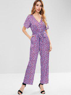 ZAFUL Spot Print Wide Leg Jumpsuit - Purple L