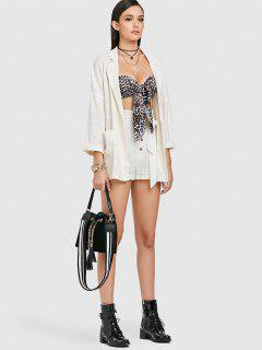 Lapel Jacket And Button Up Shorts Set - Warm White M