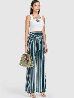 ZAFUL Striped High Slit Knot Pants - Dark Green S