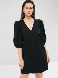 Puff Sleeve V Neck Tunic Dress - Black M