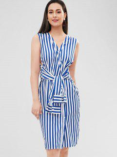 Striped Belted V Neck Sleeveless Dress - Cobalt Blue S