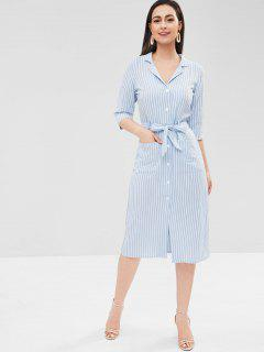 Striped Button Up Belted Dress - Powder Blue S