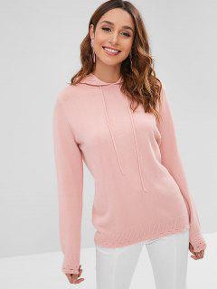Solid Color Hollow Out Hooded Sweater - Pink