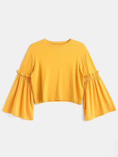 Splicing Bell Sleeves Tee - Mustard