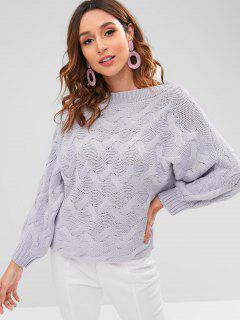 Slash Neck Cable Knit Sweater - Lavender Blue