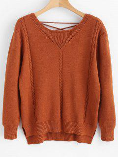 Cable Knit Lace Up Sweater - Brown