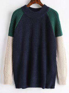 Raglan Sleeve Color Block Sweater - Midnight Blue