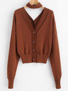 Button Up Dolman Cardigan Avec Tour De Cou - Brun