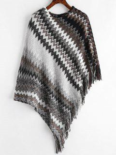 Fringed Geometric Poncho Sweater - Black