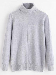 Soft Turtleneck Shadow Block Sweater - Gray