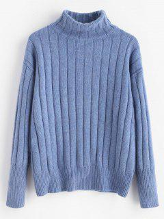 Ribbed Turtleneck Sweater - Cornflower Blue