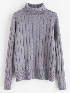 Rib Knit Turtleneck Sweater - Jet Gray