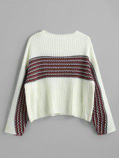 Drop Shoulder Contrast Striped Sweater - White