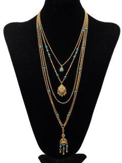 Multilayers Faux Turquoise Pendant Necklace - Gold