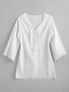 Lightweight Woven Embroidered Tunic Top - White M