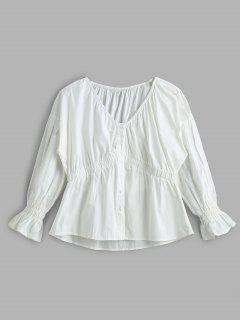 Button Down Elastic Cuff Blouse - White