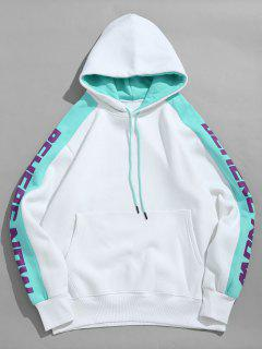 Letter Striped Contrast Fleece Hoodie - White M
