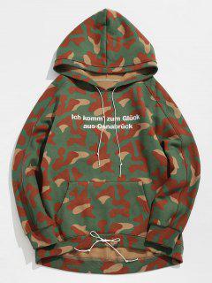 Camo Drawstring Letter Fleece Hoodie - Acu Camouflage M