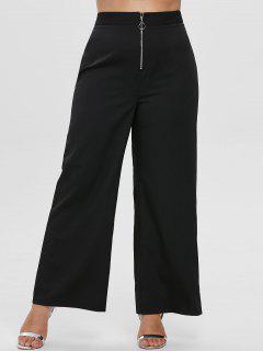 ZAFUL Plus Size Wide Leg Front Zip Pants - Black 2x