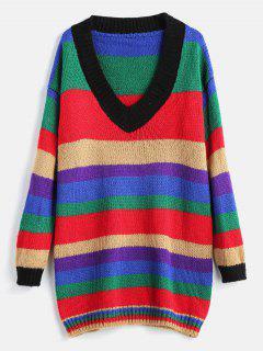 Mini Robe Pull à Rayure Colorée - Multi