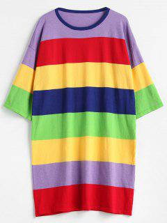 Colorful Stripes Sweater Mini Dress - Multi