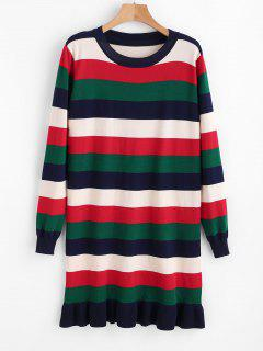 Stripes Ruffles Sweater Dress - Multi