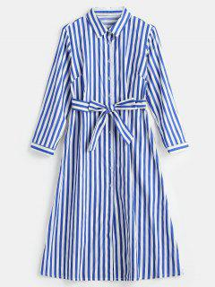 Long Sleeve Striped Midi Shirt Dress - Blue S