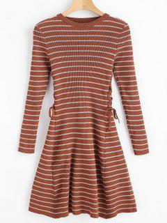 Stripes Ribbed Lace Up Sweater Dress - Brown