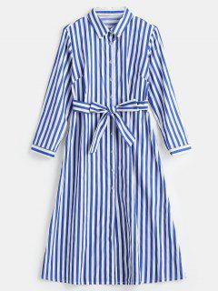 Long Sleeve Striped Midi Shirt Dress - Blue L
