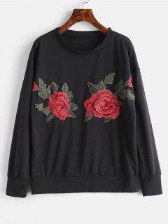 Appliques Sweatshirt - Black L