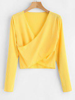 V Neck Cropped Overlap Tee - Yellow S