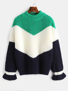 Chunky Knit Color Block Sweater - Clover Green