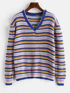 Loose Stripes V Neck Sweater - Blueberry Blue