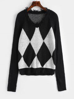 Suéter Con Flecos De Color Block Túnica - Negro