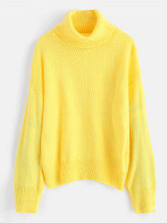 Solid Color Loose Turtleneck Sweater - Yellow