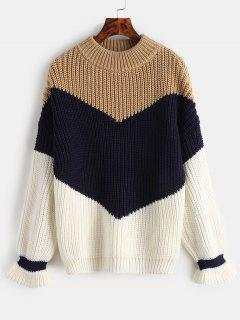 Chunky Knit Color Block Sweater - Camel Brown