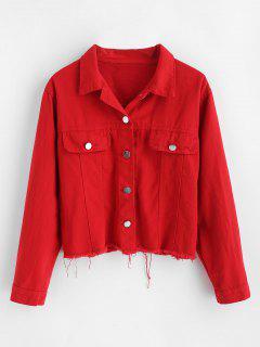 Letter Patched Frayed Hem Jacket - Red L