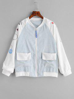 Raglan Sleeve Embroidered Corduroy Jacket - Coral Blue 2xl