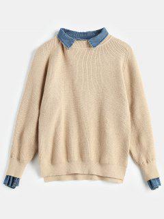 Pre-Layered Metallic Thread Sweater - Khaki