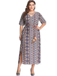 Plus Size Printed Crisscross Maxi Dress - Crystal Cream 5x