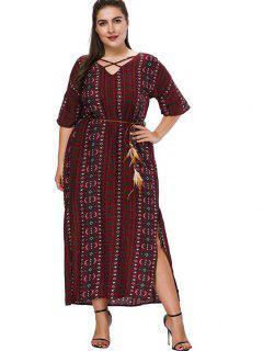 Plus Size Printed Crisscross Maxi Dress - Firebrick 5x